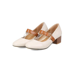 Lady Square Head Mary Janes Woman's Chunkey Heels Pumps