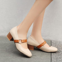 Load image into Gallery viewer, Lady Square Head Mary Janes Woman's Chunkey Heels Pumps