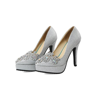 Women's Bride Shoes Platform High Heeled Stiletto Pumps
