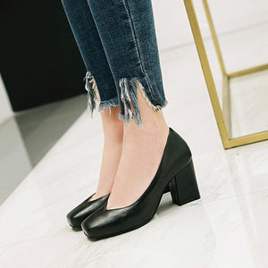 Thick Heeled High Heeled Shallow Mouth Women Pumps