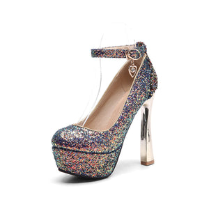 Sequined Bride Super High Heeled Platform Pumps