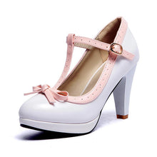 Load image into Gallery viewer, Woman's Chunkey Heel Pumps Round Head Shallow Mouth T-buckle High Heeled s
