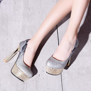 Super High Heeled Platform Pumps Club Shoes