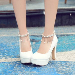 Rhinestone High Heels Platform Pumps Wedding Shoes