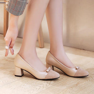 LadySquare Medium Heel Shallow Mouth Wedding Shoes Woman  Pumps