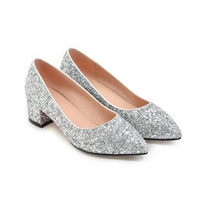 Lady Pointed Toe Sequins Women's Pumps Mid Heels Shoes