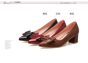 Lady  Shallow Toe Bow Women's Pumps Mid Heels Shoes
