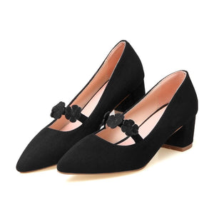 Lady Pointed Toe Flower Women's Pumps Mid Heels Shoes