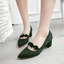 Load image into Gallery viewer, Lady Pointed Toe Flower Women's Pumps Mid Heels Shoes