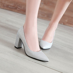 Women's Sexy Sharp Head Sequins Shallow Mouth Bridal High Heel Chunkey Pumps Shoes