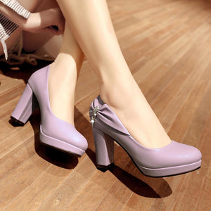 Shallow Toe Bow Platform High Heeled Pumps