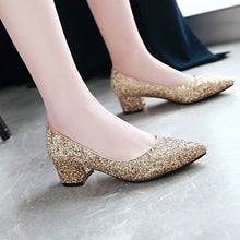 Load image into Gallery viewer, Lady Pointed Toe Sequins Women's Pumps Mid Heels Shoes