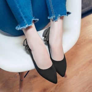 Pointed Toe Shallow Mouth Bow Knot Woman Pumps Stiletto Mid Heel Shoes