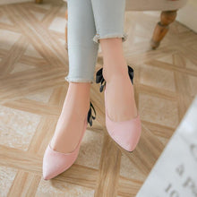 Load image into Gallery viewer, Pointed Toe Shallow Mouth Bow Knot Woman Pumps Stiletto Mid Heel Shoes