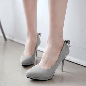 Sexy Super Stiletto Heel  Shallow Bow Stiletto Heel  Platform Pumps