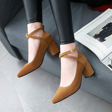Load image into Gallery viewer, Buckle Women Chunky Heel Pumps