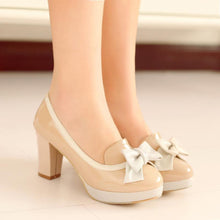 Load image into Gallery viewer, Women's Bow Knot Chunkey Heel Platform Pumps Shoes