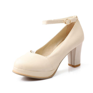 High Heeled Platform Buckle Large Size Pumps