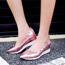 Load image into Gallery viewer, Girls Leisure Medium-heel Wedges Shallow-mouthed Rivets Casual Woman's Shoes