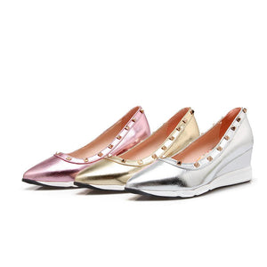 Girls Leisure Medium-heel Wedges Shallow-mouthed Rivets Casual Woman's Shoes