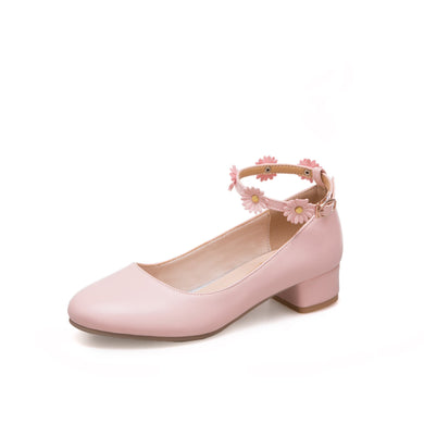 Woman Flower Buckle Low Heeled Princess Shoes