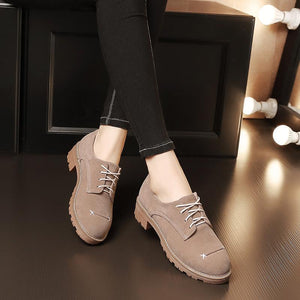 Woman's Lace Up Size 33-43 Low Heeled Chunky Pumps Shoes