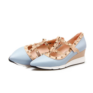Girls Pointed Toe Rivet Leisure Woman's Wedges Middle Heels