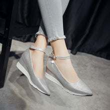 Load image into Gallery viewer, Girls Pointed Toe Buckle Casual Platform Wedgs Shoes Middle Heels