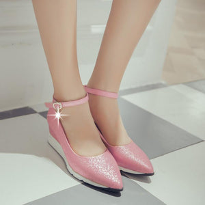 Girls Pointed Toe Buckle Casual Platform Wedgs Shoes Middle Heels