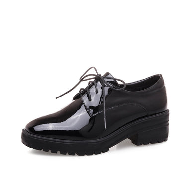 Woman's Square Heel Oxford Shoes Platform Leather Students Leisure Chunkey Heels
