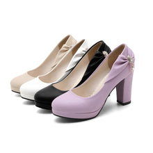 Load image into Gallery viewer, Shallow Toe Bow Platform High Heeled Pumps