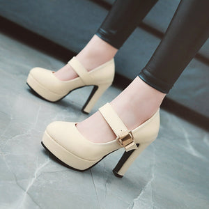 Shallow Mouth Platform Super High Heeled Pumps
