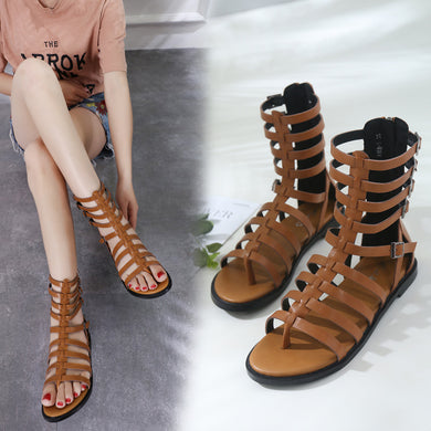 Open-toed Zipper Flat-soled Roman Women Gladiator Sandals