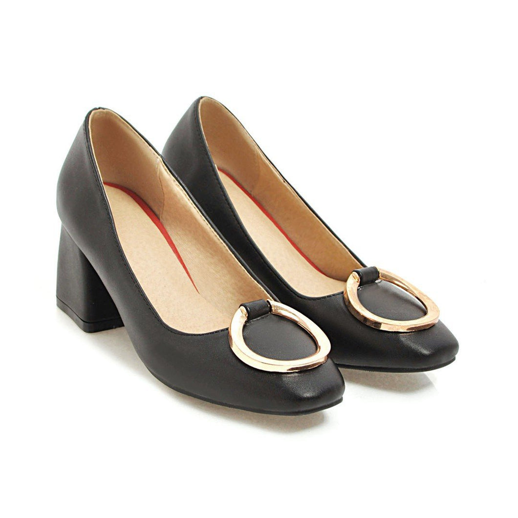 Pu Leather High Heeled Women Chunky Heels Pumps