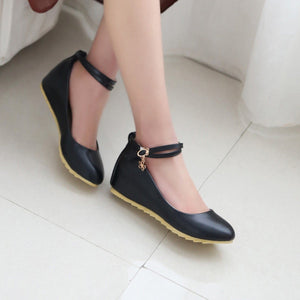 Girls Cute Ankle Strap Wedge Shoes Academic Style Fresh Woman's Shoes