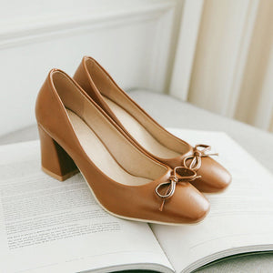 Square Toe High Heeled Shallow Mouth Pumps