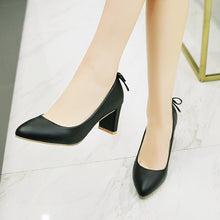 Load image into Gallery viewer, Pointed Toe High Heeled Chunky Heels Pumps