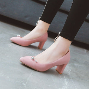 High Heeled Pointed Shallow Mouth Block Heel Pumps