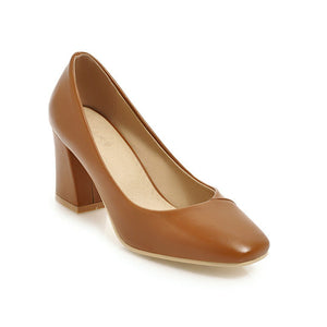 Square Head Coarse High Heeled Shallow Mouth