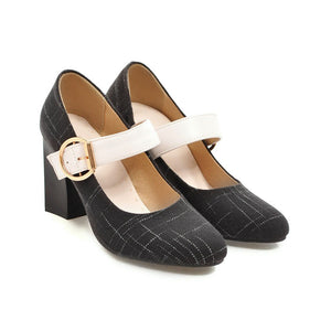 Mary Janes High Heeled Shallow Mouth Pumps