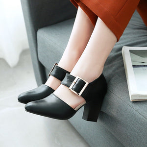 High Heeled with Round Head Belt Buckle Chunky Pumps