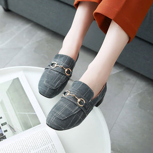 Women's Square Head Low Heeled Shoes