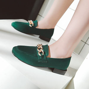 Women's Metal Decorative Low Heeled Shoes