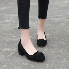 Load image into Gallery viewer, Lady  Shallow Toe Tassels Size 33-42 Women's Pumps Mid Heels Shoes