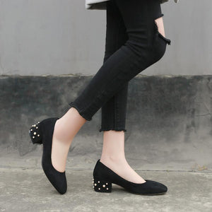 Pearl High-heeled Women Chunky Heels Pumps