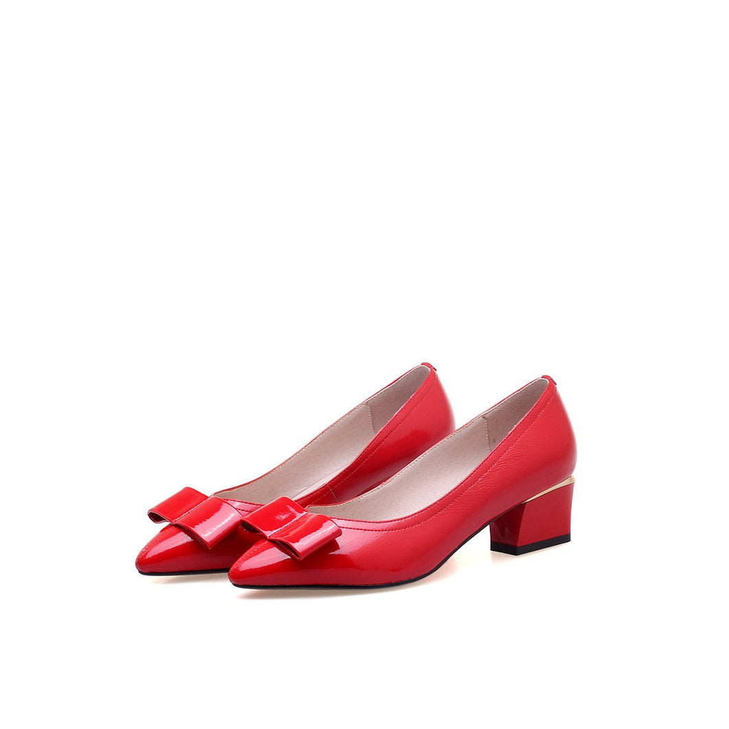 Pointed Toe Leather Bow Tie Mid Heeleded Chunkey Pumps