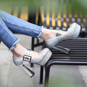 Woman's Chunkey Heel Pumps Platform Sequin Shallow Mouth