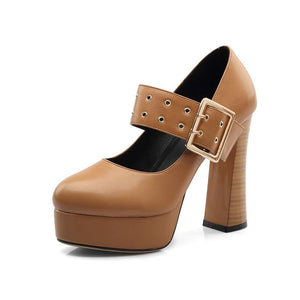 Women's Chunkey Heel Pumps High Heel Platform Belt Shoes