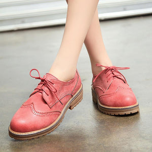 Woman's Square Heel Large Size Lace Up Low Heeled Oxford Shoes