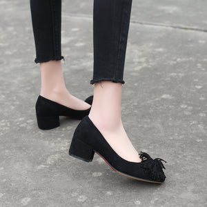 Lady  Shallow Toe Tassels Size 33-42 Women's Pumps Mid Heels Shoes
